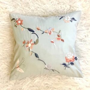 Anthropologie floral embroidered pillow